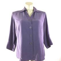 Notations Woman 1X Plus Top Purple Black Polka Dot 3/4 Sl Button Cuff Sh... - $23.18