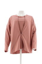 Denim Co Novelty Zip Front Jacket T-Shirt Antique Rose XXS NEW A85253 - $34.63