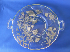 Fostoria Jamestown Handled Plate with Silver Overlay - $18.00