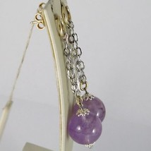 925 silver earrings rhodium Deposition Amethyst Gemstone pendant natural roun... image 2