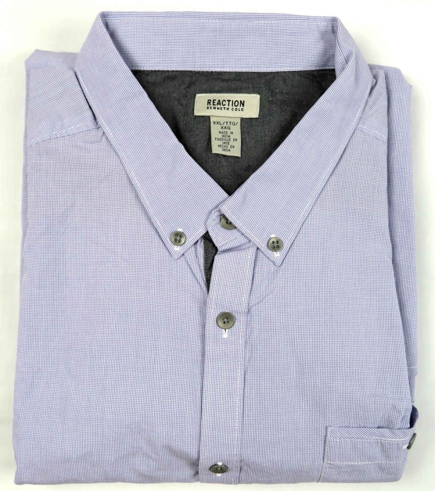 Kenneth Cole Reaction Shirt Men's Long Sleeve Button-down Casual Cotton Lilac #1