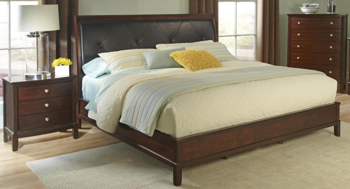 Myco Furniture De710q Denver Cherry Finish Button Tufted Queen Bedroom Set 2pcs Bedroom Sets