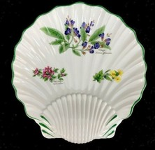 Royal Worcester Worcester Herbs Green Trim Botanical Shell Shaped Dish 8... - $32.69