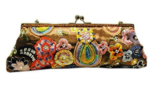 Vintage Embroidery Clutch Bag Brown Sequin Party Clutch Handbag