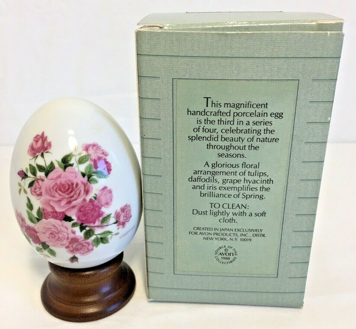 Vintage Avon Summer's Roses Porcelain Collectible Egg 1988 w/stand & box NOS