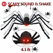 Halloween Decorations Giant Spider 4.1 ft with LED Eyes Spooky Sound Inc... - £20.28 GBP