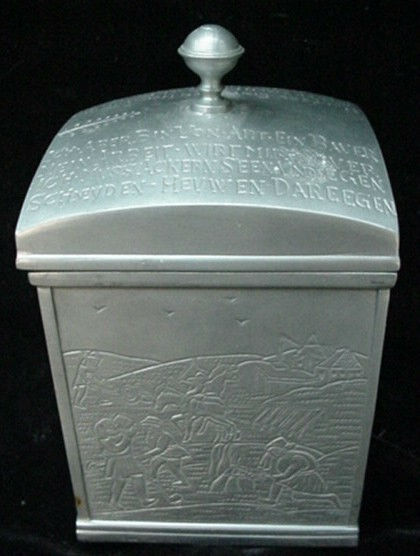 Neat Antique Ornate Pewter Smoking Pipe Tobacco Cigar Humidor Old World German