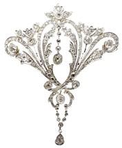 Large 14k Victorian Three Carat Genuine Natural Diamond Brooch / Pendant... - $5,771.49