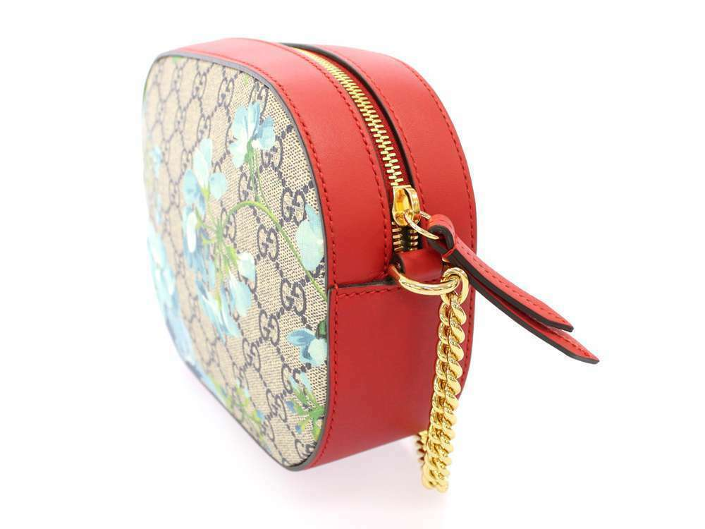 GUCCI Chain Shoulder Bag GG Blooms Supreme Leather Hibiscus 546313 Authentic