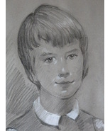 1965 Charcoal Boy Portrait Framed Signed Jack Robertson - $171.74