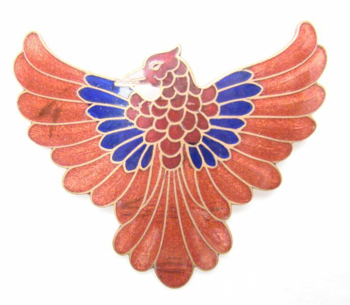 LARGE VICTORIAN ENAMEL EAGLE PIN