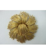 Vintage Monet Brooch Pin Extra Large Textured Gold Tone Swirl Fireburst ... - $19.26