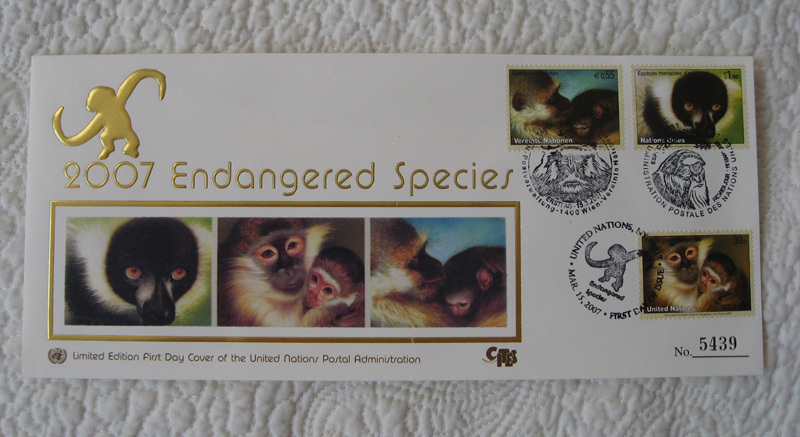 Completed UN Endangered Species Stamps & Silk FDC 2007 RARE