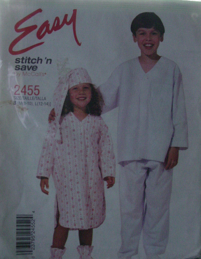 Pattern 2455 sz 8-10, 12-14 Children's Night Shirt or Pajamas - Easy