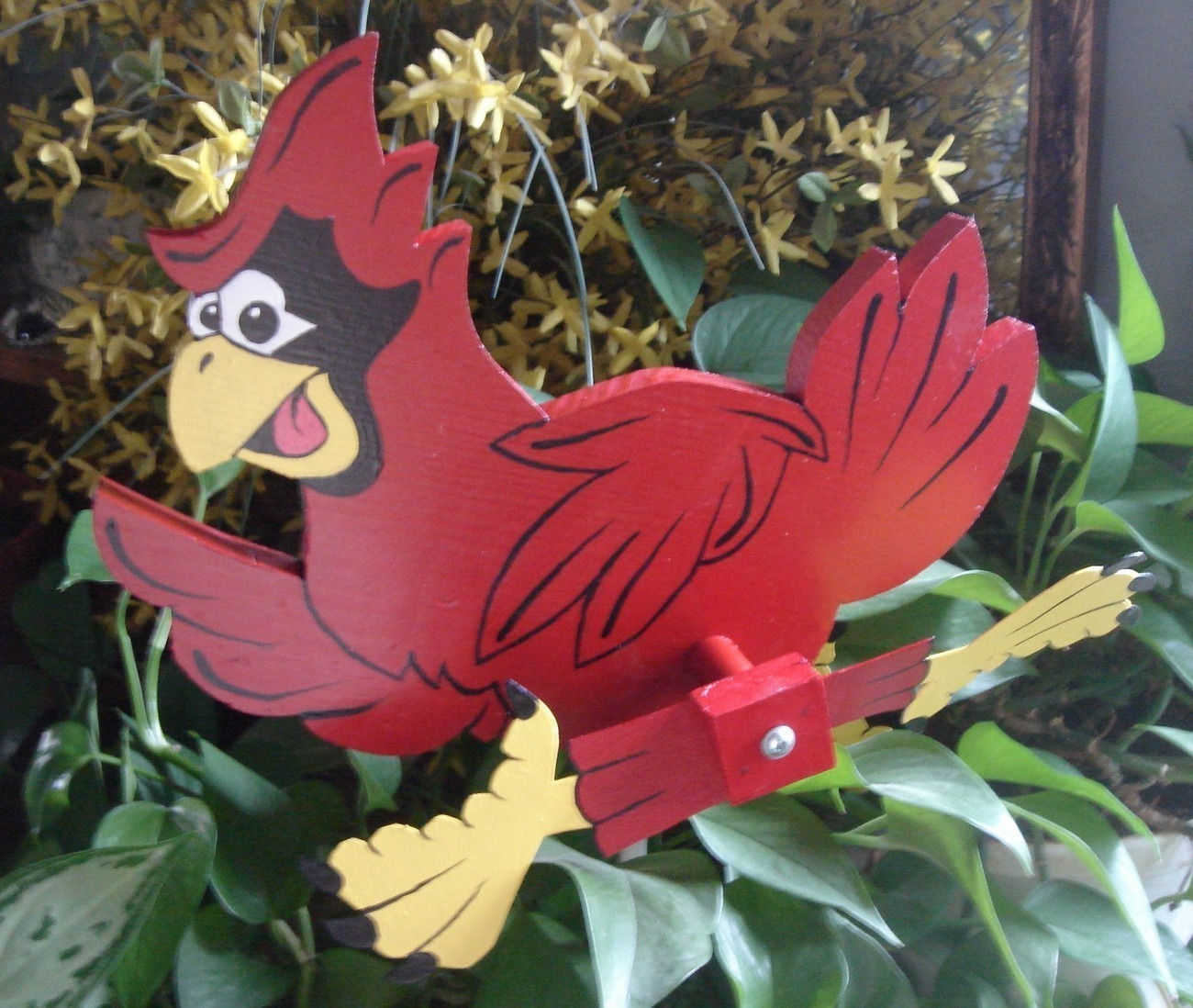 Whirligig Red Cardinal Mascot Motif- Handcrafted, Handpainted,wind mobile,motion