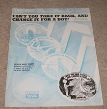 Can't You Take It Back And Change It For a Boy? Sheet Music - $9.95