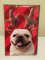 American Greetings 8 Reindeer Dog Christmas Holiday Cards w/ 8 Green Env... - $10.88