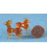Amber Art Glass Miniature Deer Pair Vintage Mouth Blown - $10.00
