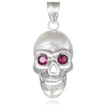 Polished Sterling Silver Skull Red CZ Pendant - $49.99