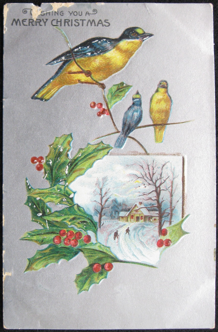 Primary image for Early Divided-back, Embossed, Christmas Postcard, Wishing you a Merry Christmas,