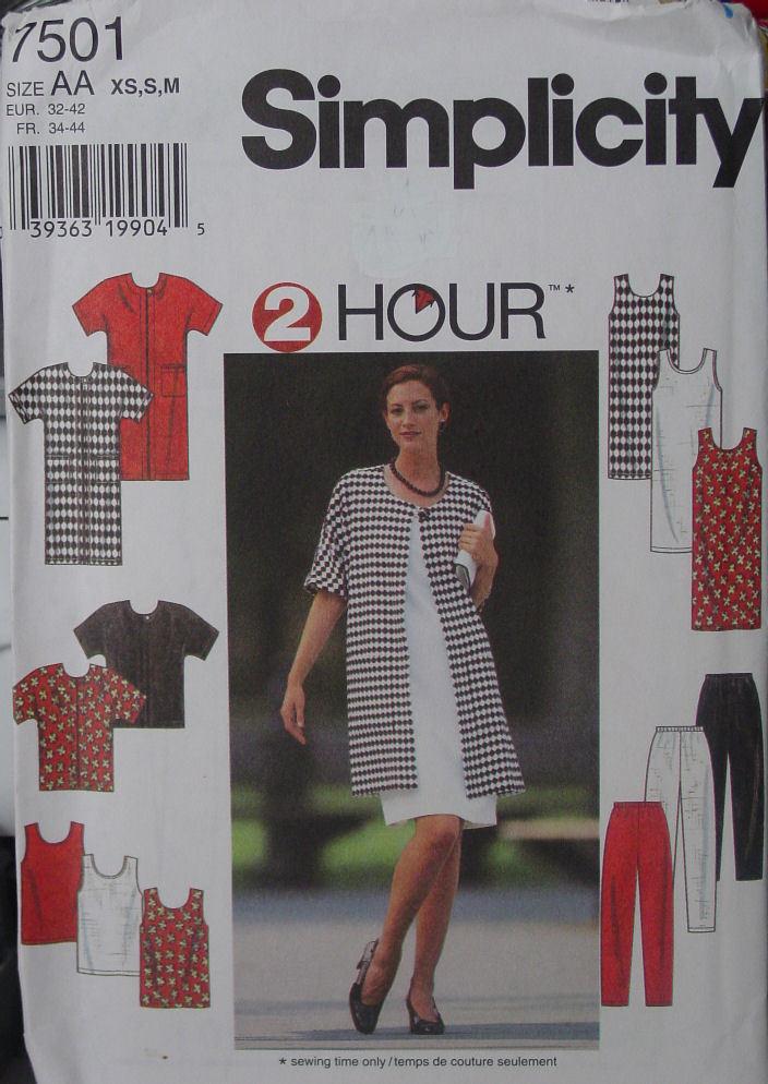 Pattern 7501 sz XS-M Comfortable Wardrobe Slacks, Dress, Jacket, Tank Top