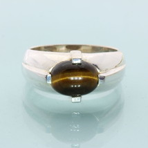 Golden Brown Tigers Eye Handmade Sterling Silver Gents Solitaire Ring size 10 - £50.71 GBP