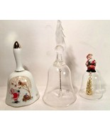 Lot of 3 Christmas bells Tree Glass Santa Plastic 1980 Porcelain Collect... - $19.75