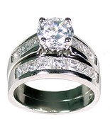 5.4 carats Russian Ice on Fire CZ Wedding Ring Set 925 Sterling Silver sz 9 - $83.00