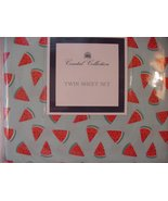 Coastal Collection Watermelon Slices on Aqua Mcrofiber Sheet Set Twin - $41.00