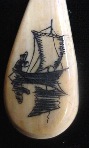 Old Pre Ban Alaska Indian Fossilized Ivory Scrimshaw Sailboat Teardrop Pendant