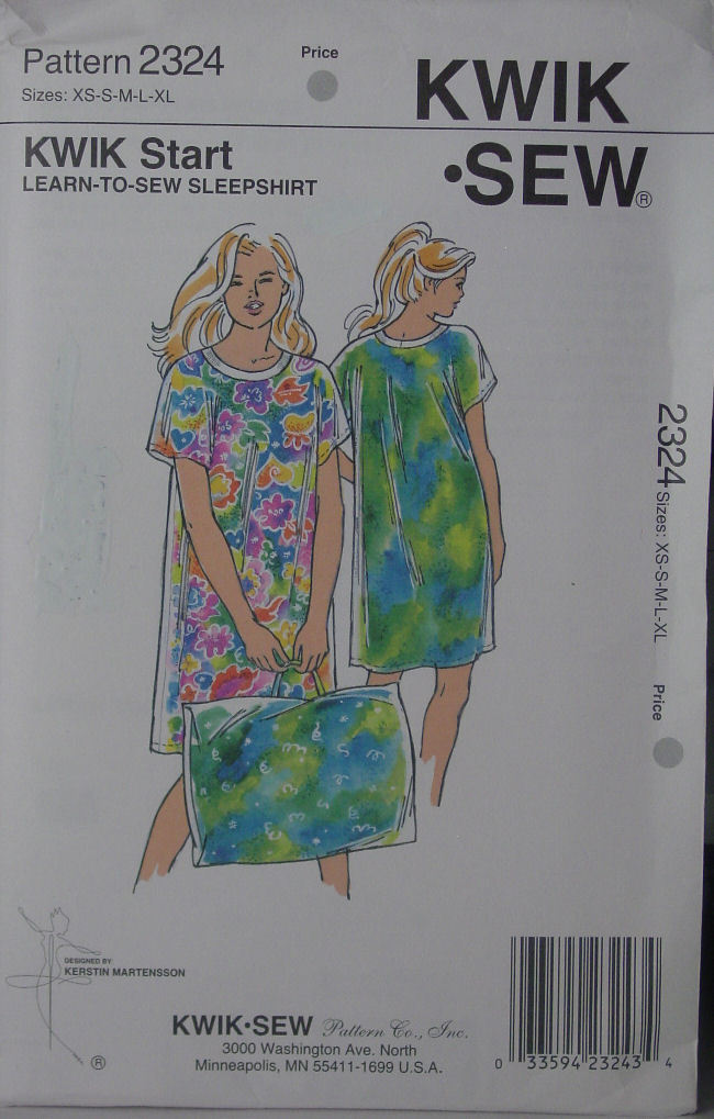 "Pattern 2324 ""Learn to Sew"" Sleepshirt XS-XL and Pillowcase w/ handle"