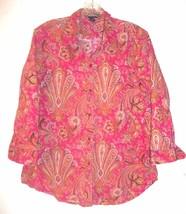 Sz XL -  Chaps Pink Paisley Bandana Print Long Sleeve Shirt - $28.49