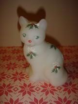 Fenton Hand Painted Christmas Cat  - $42.99