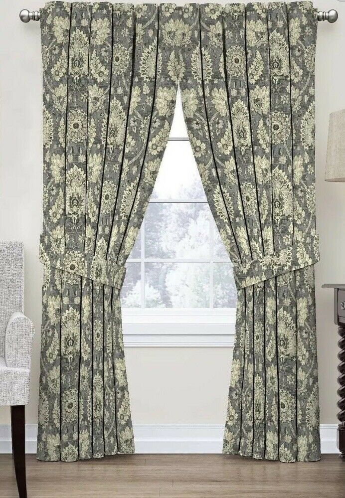 2 Waverly Clifton Hall Rod Pocket Panels With Tie back 52 W x 84 L Flax - $53.99
