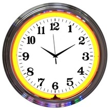 "Chrome Orange Standard Neon Clock 15""x15"" - $59.00"