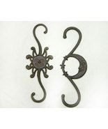 Pair Sun and Moon Cast Iron Country Plant Hangers - $16.95