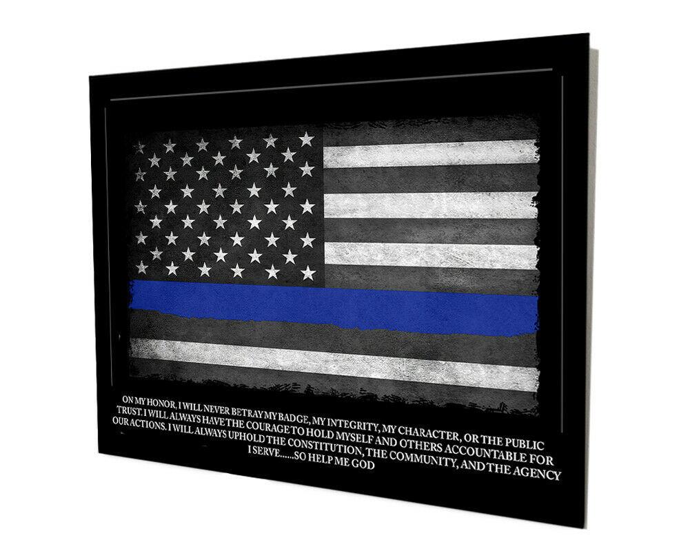 Sheriff Police Thin Blue Line Oath of Office Flag Design 16x20 Aluminum Wall Art - $59.35