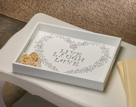 Live Laugh Love Tray White Wood Decorative Gift - $23.99