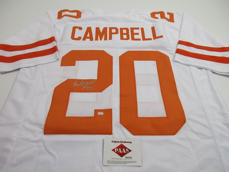 low priced 43d44 5348a EARL CAMPBELL - NFL HALL OF FAME - HAND SIGNED TEXAS LONGHORNS CUSTOM  JERSEY COA