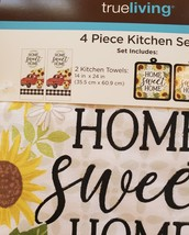 Sunflower Kitchen Set, 4-piece, Towels Pot Holders, Red Truck farmhouse decor image 3