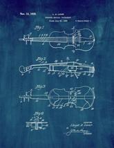 Stringed Musical Instrument Patent Print - Midnight Blue - $7.95+