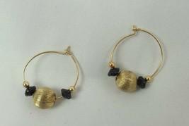 VINTAGE GOLD TONE HOOP BEADS PIERCED DANGLE Earrings FASHION APPROX. 1.1... - $10.03