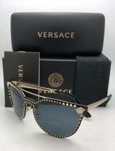 Neu Versace Sonnenbrille Ve 2177 1252/87 140 Bleichgold Schild mit Nieten + - $384.96