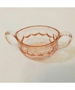 Honeycomb Hex Optic Pink Depression Glass Etched Open Sugar Bowl Jeannette - $11.47