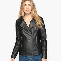 New Quilted Shoulder Short Length Women's Genuine Leather Biker Jacket