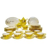 Auratic Fine Bone China Dinnerware Set 47-Piece Yellow Glaze CP 47-FE10-... - $2,474.99