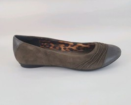 Clarks Bendables Flats Brown Suede Cap Toe Ruched Womens 7.5 M - $28.04