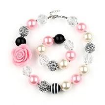 Bouren Fashion Girls Chunky Beads Bubblegum Necklace and Bracelet Set - $12.81