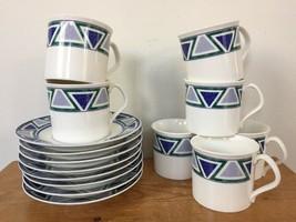 Set Vtg Mikasa Studio Nova Vista JJP01 Blue Green Ceramic 7 Tea Cups 8 Saucers - $63.99