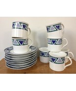 Set Vtg Mikasa Studio Nova Vista JJP01 Blue Green Ceramic 7 Tea Cups 8 S... - $63.99
